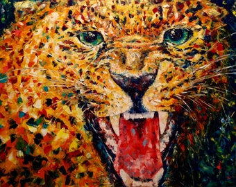 "Cheetah Painting Large Canvas 48"" Leopard Painting Large Oil Painting Palette Knife Painting Oversize Art Work Modern Office Wall Art Decor"