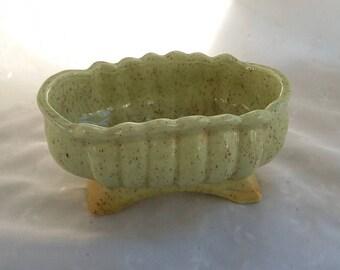 Vintage Green Speckled Ceramic  Oval Planter