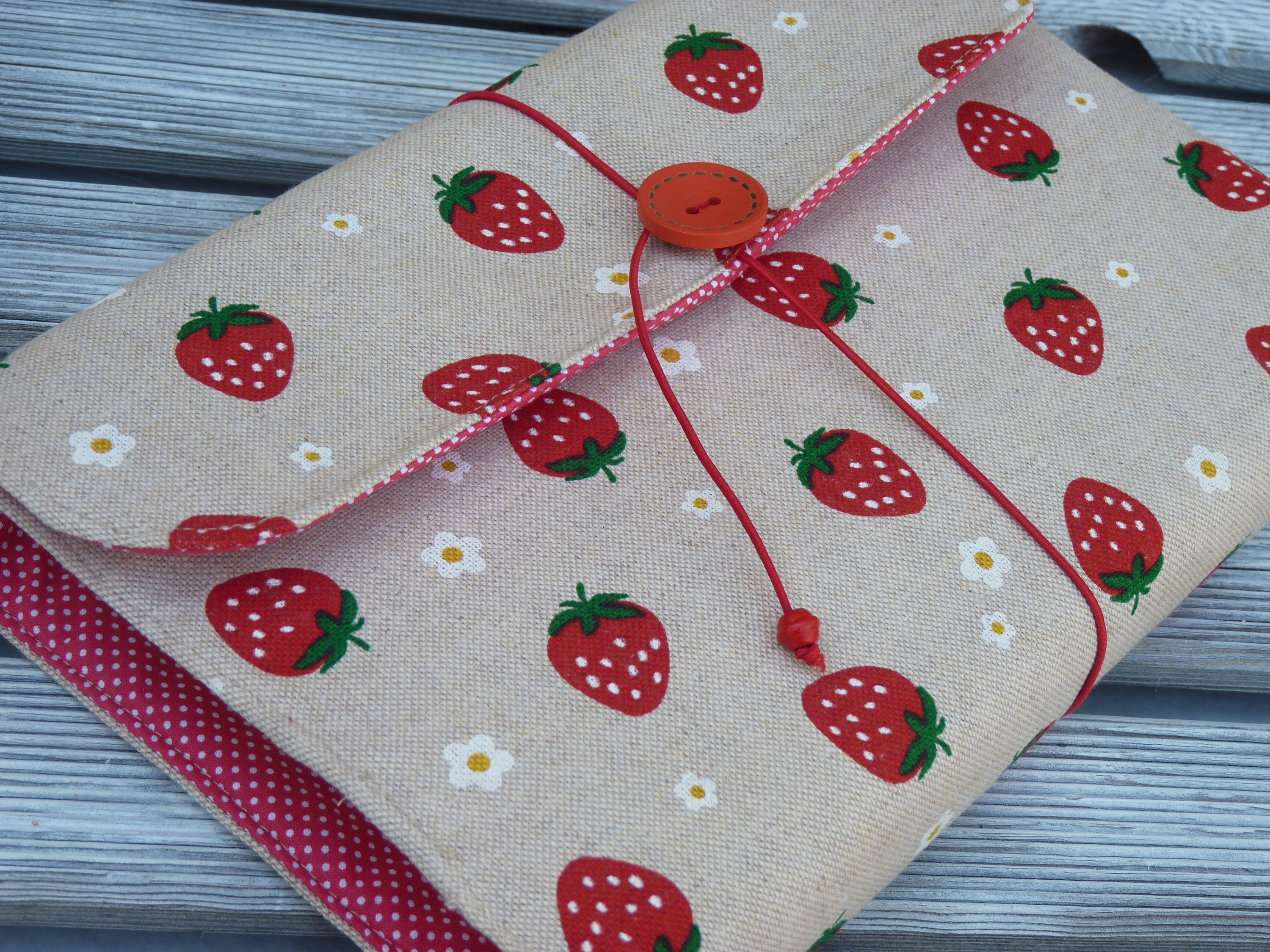 Adjustable Fabric Book Cover : Book sleeve strawberry fabric cover adjustable