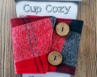 Cup Cozy, Flannel Cup Cozy, Coffee Cup Cozy, Coffee Cup Sleeve, Flannel Coffee Sleeve
