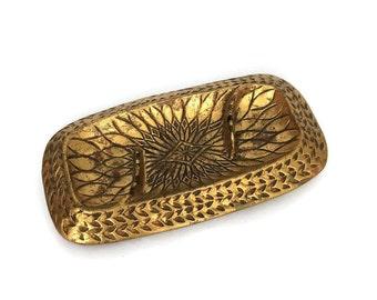Vintage Mid Century Modern California Style Gold Leaf Ashtray Dish USA 2578 // Vanity Tray