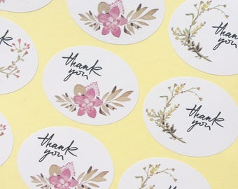 36 Floral 'Thank you' Stickers 4cm