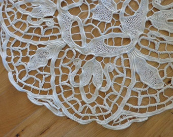Round handmade rustic tablecloth topper, vintage French circular topper doily