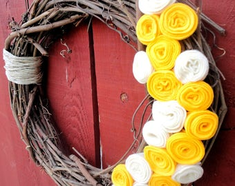 Grapevine Wreath with Yellow Flowers
