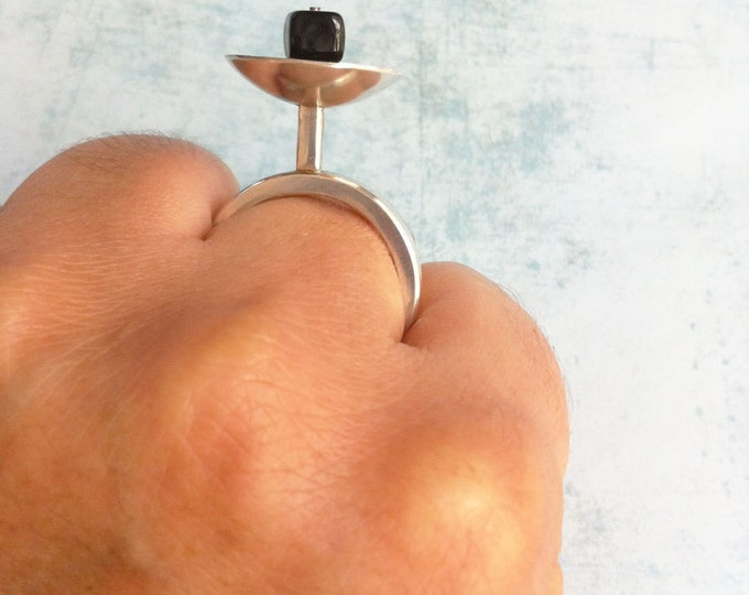 Sterling silver ring - statement ring  - geometric ring - one of a kind
