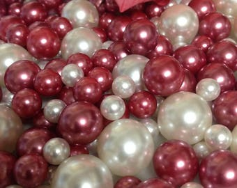 120pc Mauve (Dusty) Pink/White Pearls No Holes (Mix 18mm, 14mm,10mm, 8mm) For Vase Fillers, Centerpieces