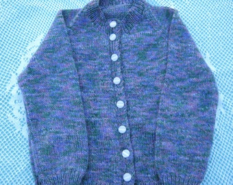 Hand Knitted Cardigan - Gorgeous Purples and Green Variegated for a Girl aged around 4 years.