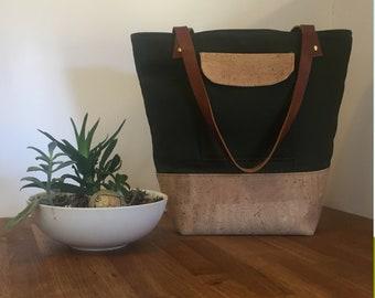 Tote Bag with Pocket, Cork Bag, Cork Handbag, Olive Green Canvas Tote, Cork and Canvas Bag, Leather Strap Tote, Cork and Canvas Tote