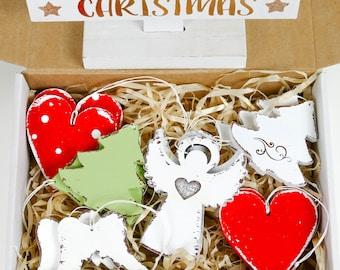 Christmas Tree Decoration Set - Angel, Wings, Heart, Trees 12 ornaments - Handmade Shabby Chic