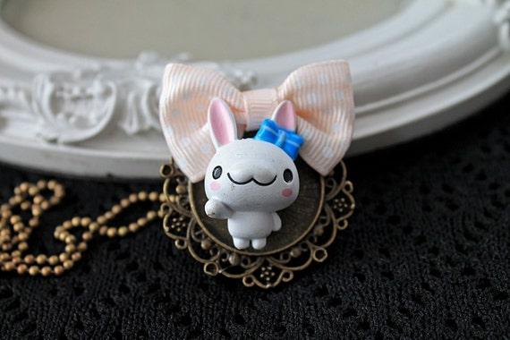 Bunny girl Necklace kawaii lolita  rabbit cute animal egl peach pink white