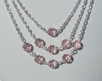 Blush pink glass and silver 3-strand necklace