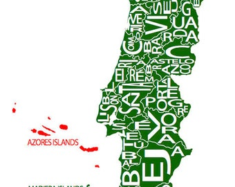 Typographic Map of Portugal