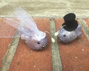 Bride and Groom with Top hat Angler Fish Wedding Couple Cake Topper Set of Two with glow in the dark angler