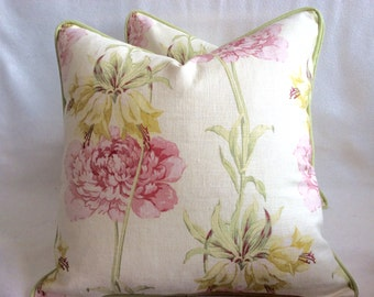 """Pair of Delicate Floral Designer Pillow Covers - Waverly """"Starla"""" Pattern Linen Blend - Pink/ Green/ Cream - 19x19 Covers"""