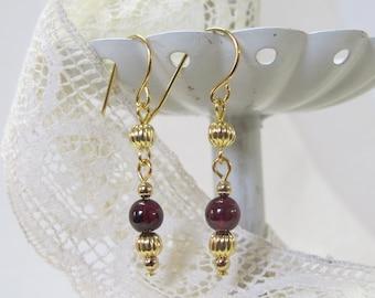 Genuine Garnet Drop Earrings, Gold-Plated Earwires, Civil War Appropriate - Affordable Elegance