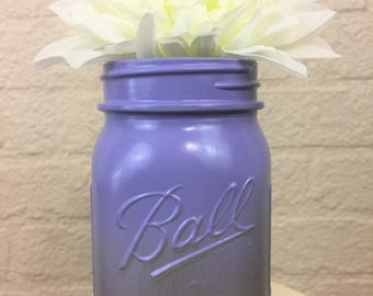 Silver Metallic and Lavender Ombre Painted Pint Mason Jar