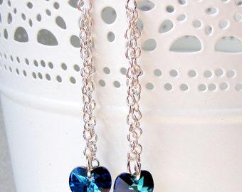 Boucles d'oreilles coeur cristal Bleu Bermude fait avec éléments Swarovski, Boucles d'oreilles cristal pour demoiselles d'honneur