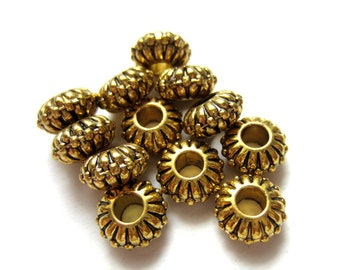 18 Large hole beads antique gold  metal spacer ethnic jewelry supply 10mm x 5mm hole 3.5mm 29AGNR-X4