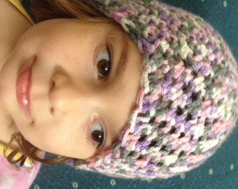 Pink, Purple, Gray and White Toddler Crochet Hat