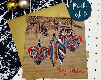 Christmas Cards Pack- Art Deco Bauble- Pack of 5//Multi-pack//Merry Christmas