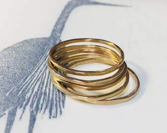 14k Solid Gold Stacking Rings 14 karat gold ring thin band modern organic wedding ring