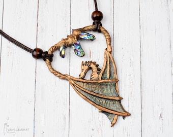 Dragon with Titatnium Crystals Necklace Fantasy Pendant OOAK Jewelry