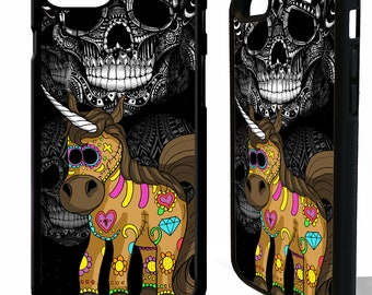 Unicorn sugar skull tattoo day of the dead rubber protective cover for samsung galaxy s5 s6 s7 s8 s9 plus edge phone case