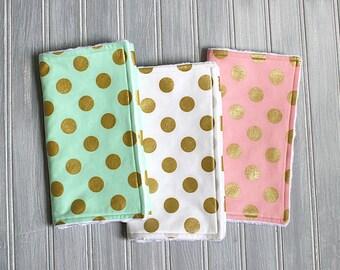 Baby Girl Burp Cloth Set of 3 - Metallic Gold Burp Cloths - Gold Burp Cloth - Baby Burp Cloth - Metallic Burp Cloths - Metallic Baby - Pink