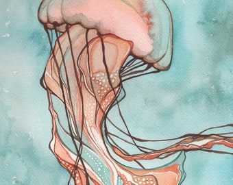Pink Sea Nettle JELLYFISH 8.5 x 11 print of detailed watercolour in turquoise orange salmon earth tones, whimsical cotton candy fairytale