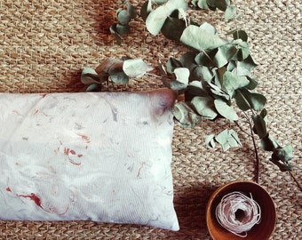 Grey and copper marble hand painted cushion cover. Beautifully marbled  decorative throw pillow cover. Stone effect hand printed fabric.