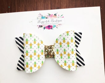 "Pineapple delight Printed 3.5"" Hair Bow Headband"