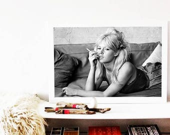 Brigitte Bardot Large PRINT, Portrait Poster, Large Wall Art, Bridget Bardot Poster, Black And White, Scandinavian Print, Fashion Poster