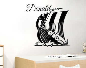 Viking Ship Wall Decal Name Personalized Custom Decals Vinyl Sticker Boat Longboat Art Home Decor Mural Baby Decor Nursery MS786