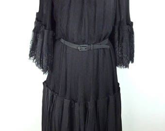 Set LANVIN 1970 - Blouse and skirt pleated silk and Black Lace - size 36 Size S small size - VINTAGE Lanvin