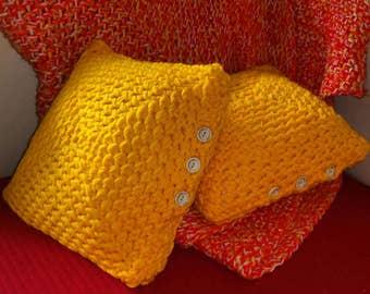 Yellow crochet pillowcase + pillow