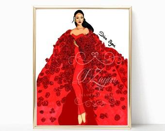Rihanna Poster (Fashion Illustration - Print)