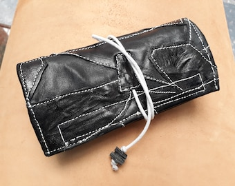 Black tobacco real leather patchwork entirely hand-sewn vintage style