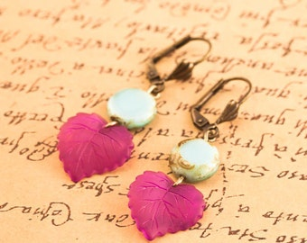 LEAF Dangle Earrings, Nature Inspired Earrings, Boho Earrings, Dangle Earrings, Gift For Woman, Bohemian Earrings, Czech Dangle Earrings,