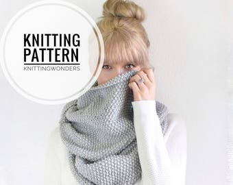 KNITTING PATTERN ⨯ Infinity Scarf, Chunky Cowl Scarf ⨯ Easy Knit Pattern, Chunky Cowl Scarf ⨯ Beginner Knitting Pattern Cowl Scarf