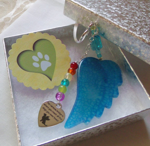 Pet loss gift - aqua wing ornament - agate pendant - angel wing - Pet sympathy gift - dog loss - window ornament - fur baby memento