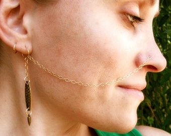 14K Gold Filled-Brass-Nose-Chain-Customized / Free Domestic Shipping
