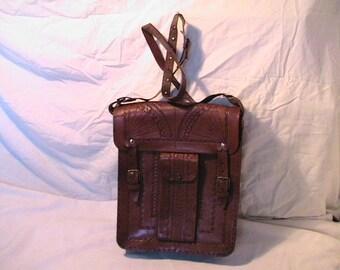 Vintage 1970's Handmade Brown Leaher Handbag Shoulder Bag with Wallet
