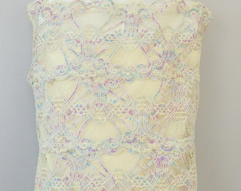 Pale Yellow Sleeveless Lace Cami with blue,purple and pink highlights