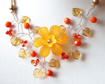 Floral orange and yellow Topaz necklace