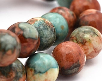 Jade Beads Round Blue, Brown Copper and Tan 10MM