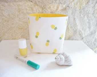 Pineapple fabric basket, lined (4 colors available) - storage basket fabric basket Organizer storage decor, birth gift