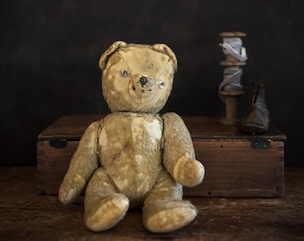Vintage Teddy bear - antique bear - This little man needs a new home
