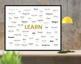 LEARN - Word Translated Into More Than 50 Languages (Digital Download; Printable Poster; White Background)