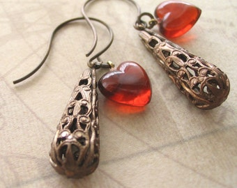 Red Heart Earrings with filigree drops, Gift for Her Jewelry