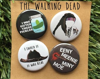 The Walking Dead Pin Set - TWD, Negan, Michonne, Carl, Eugene, Zombie, Lucille, Gift, Magnets or Pins, AMC, Rick Grimes, Daryl Dixon